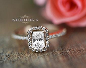 Emerald Halo Engagement Wedding Ring Solid 14k or 18k Rose Gold Bridal , Vintage Ring , Rose Gold Emerald Engagement Ring