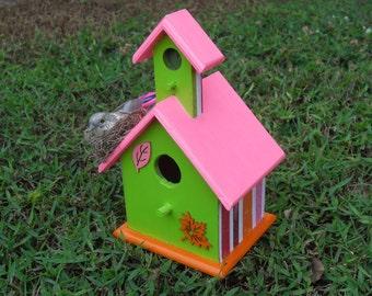 Beautiful Bright Pink Lollipop Decorative Bird House