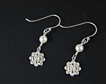 Akoya Saltwater Pearl with Flower Charm Earrings, Pearl Earrings, Silver Charm Earrings