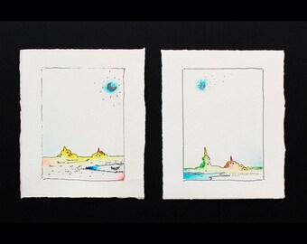 illustration, inks, pencil, Kids Wall Decor, Art kids,  Children's art, wall decor