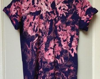 Tie Dye T-Shirt acid wash T-shirt hipster Retro 90s dip dye Purple marble men women unisex Galaxy scrunchy top