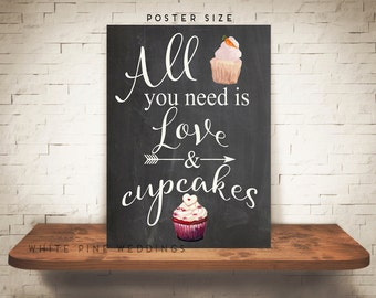 PRINTABLE Chalkboard Wedding Cupcake Sign, Dessert Bar sign, Cupcake Sign, Red Velvet cupcake sign, All you need is love and cupcakes sign
