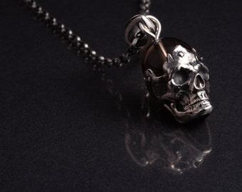 925 sterling silver skull pendant and smokey quartz bead
