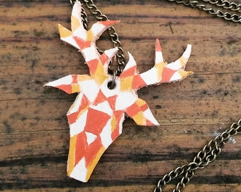 Leather Geometric Deer Necklace Handmade