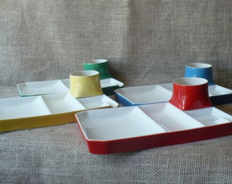 Vintage Divided Luncheon Dishes Colorful Dish Set of 4
