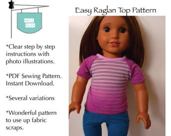 Easy Raglan Top for 18 inch AG dolls.  Digital Download PDF Sewing Pattern.
