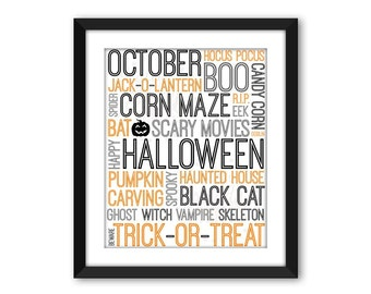 Halloween Subway Art, DIGITAL DOWNLOAD, Printable Wall Art, Halloween Wall Decor, Typographic Art, Holiday Subway Art