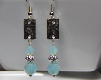 Drop Earrings: Pacific Opal Swarovski Crystal and Silver