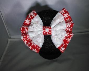 Red Sparkle Snowflake Hair Bow