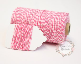 Hot Pink Baker's Twine, Hot Pink Twine, 4 Ply, 15 Yards, Cotton Twine, Natural Twine, Pink Twine, Pink Gift Wrap, White Twine, Wedding DIY