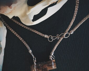 Rose Gold toned Silver Viking Knit and Aragonite Necklace