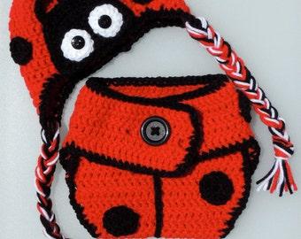 Crochet Ladybug Hat and Diaper Cover, Crochet Ladybug Earflap Hat and Diaper Cover, Photo Prop
