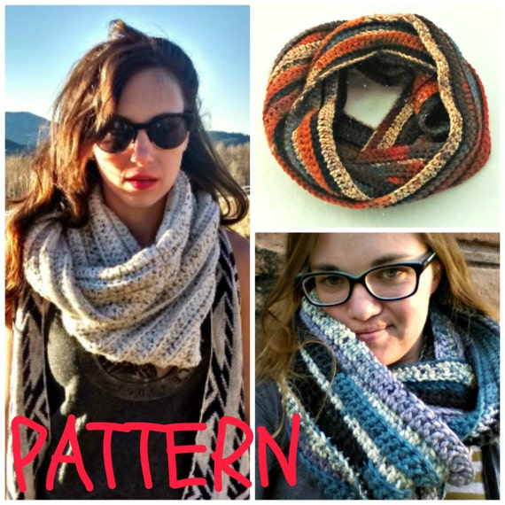 Eleanor Scarf Pattern -- chunky ribbed infinity scarf -- crochet pattern