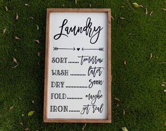 Laundry wood sign / home decor / wall art / laundry sort wash dry / laundry room decor / laundry sign / laundry room sign / LARGE
