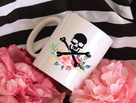 Skull and Crossbones Watercolor Floral Bouquet Sublimation Mug, 2 Sided