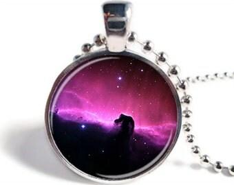 Nebula Pendant, Horsehead Nebula Necklace, Space Jewelry, Astronomy Necklace, Nebula Jewelry, Space Keychain, Nebula Keychain
