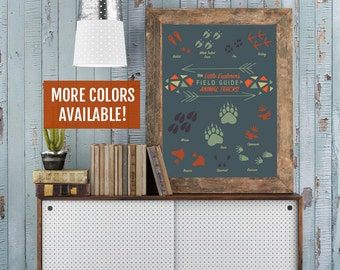 Little Explorer Nursery Art Print - Animal Tracks Poster, Woodland Creatures Nursery, Fox Forest Kid's Room - New Mom Mother Mommy Gift