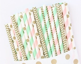 Mint green, pink and gold paper straws-set of 25- Vintage chic mint, pink and gold0 striped paper straws, mint green, pink and gold straws