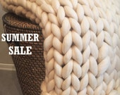 Premium 18 microns Chunky knit blanket, Throw Blanket, Merino wool blanket, Giant knit blanket, Super chunky blanket