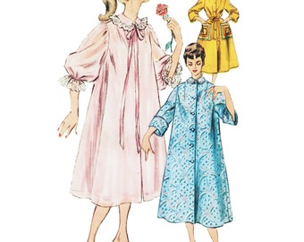 Vintage Sewing Pattern 1950s 1954 Women's Negligee Nightgown Duster Housecoat Robe Simplicity 4972 Size 14 Bust 32