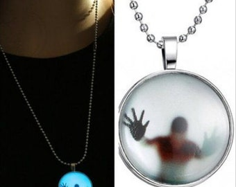 Man Stuck in Glow in Dark Pendant Necklace, Glow in the dark necklace, Glow Pendant
