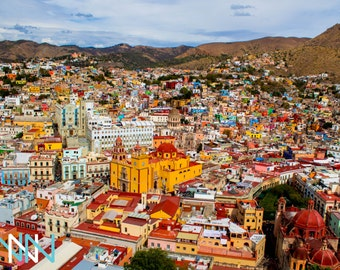 Guanajuato Cityscape Poster Print  Mexican Home Decor  City Print Photography