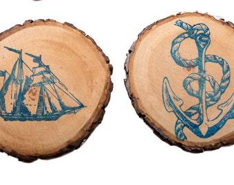 Captain's Quarters Whiskey Coasters set of 2