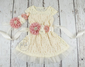 baby lace dress flower girl dress, lace dresses, dusty rose flower girl dress, flower girl dresses, country flower girl,