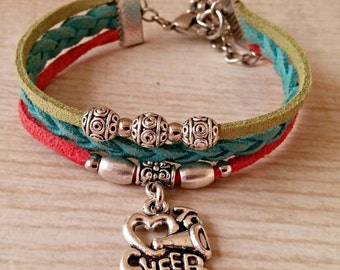 Teen Sports Bracelet// I Love to Cheer Charm Bracelet// Cheerleader Friendship Bracelet// Cheerleader Gift// Choose ONE Charm