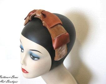 Vintage Hat/ Headband Cinnamon Velvet/ Satin Bow~ Circa 1960s