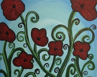 Red Flowers and Swirls