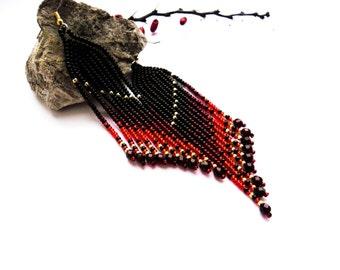 black earrings red earrings chandalier earrings tassel earrings Native earrings long earrings Beaded Earrings fringe halloween earrings