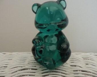 Fenton Green Glass Bear Vintage