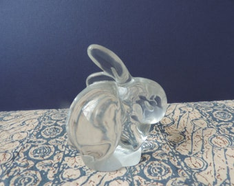 Solid Glass rabbit paper weight or collectible  Vintage made in Germany