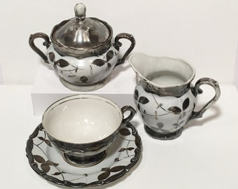 Vintage RW Bavaria German Dekor Feinsilber Tea Cup, Saucer, Creamer and Sugar Bowl, Silver over White