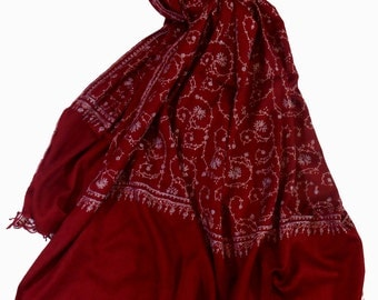 Real KASHMIR SILK PASHMINA Shawl. Handmade with 80% Natural Cashmere Blended with Silk & Hand Embroidered with natural Kashmir Silk..
