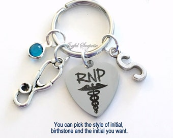 RNP Key Chain Registered Nurse Practitioner Gift for RPN Keyring Medical Stethoscope Keychain initial birthstone personalized custom charm