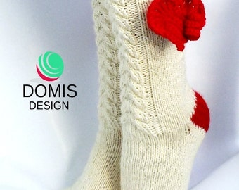 Valentine's day gift ideas hand-knitted socks stockings warm socks. White Merino Wool red crochet heart unique plait pattern