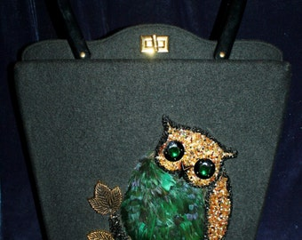 50's, Jolles Original, Beaded, Feathered, Owl, Handbag, Austria, Purse, Green, Black, Gold, Bag, Vintage, Feather, Gem, Jolles, Bird,Classic