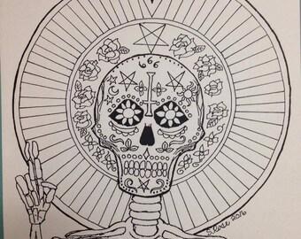 Satanic Sugar Skull Adult Coloring Page