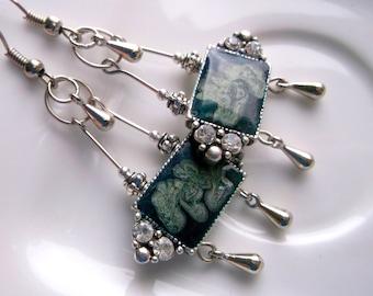Cold enamel painted earrings painted dangle earrings green enamel earrings crystal earrings dangle art deco style