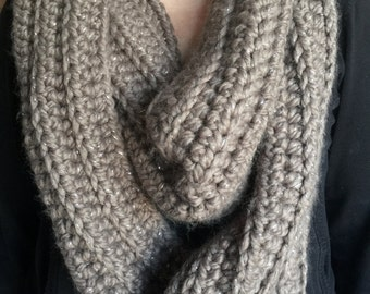 Taupe Crocheted Wool Sparkly Winter Scarf