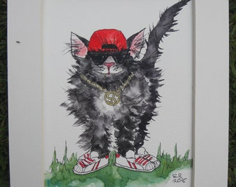 Cat lover gift. Cat print. Cat art. Cat in a hat. Cat painting. Cat home decor. Unusual wall art White sneakers. Rap music.