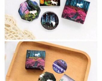 Unicorn Stickers, 45 pcs, Beautiful, Magical Moon, Night Fantasy, Labels, Boxed, Seals