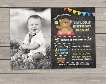 bear birthday invitations printable, teddy bear picnic invitation, kids birthday party invites printed, photo invitation