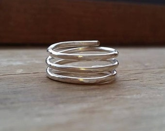 Hammered Spiral Ring - Sterling Silver and Copper - Triple Band - Adjustable