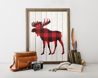 Moose Wall Art, Lumberjack Birthday Party Decor, Printable Art, Lumberjack, Plaid, Man Cave Decor, Gift for Him, Husband, Father, Maine