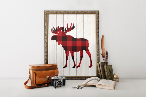 Wall Decor Home Party : Moose wall art lumberjack birthday party decor printable