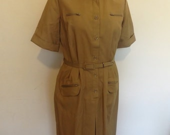 vintage shubette 80s shirt waister midi dress khaki 10 8 with tag