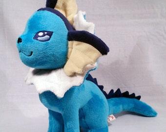 Vaporeon - Cute Pokemon Themed Plushie - Original Handmade Pokemon Fanart Plush * Made to order *